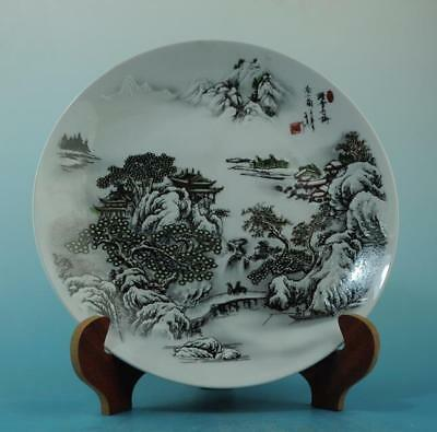 China old porcelain famille rose snow-covered landscape plate/qianlong mark 30