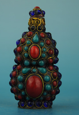 Chinese old hand-made  inlay matsuishi gourd shape snuff bottle