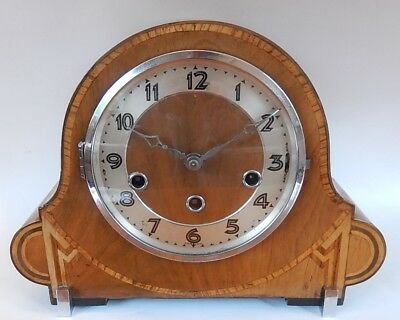 Superb German Art Deco Walnut Case Westminster Chiming Bracket Clock 2869