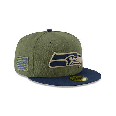 New Era NFL SEATTLE SEAHAWKS Salute to Service 2018 Sideline 59FIFTY Game Cap NE