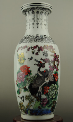 China old hand-made famille rose porcelain Hand painted flower &crane vase
