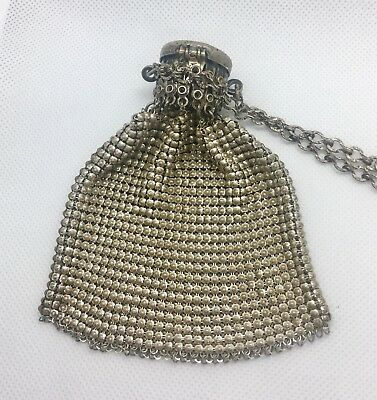 Vintage Mesh Silver Miser Coin Purse Etched Top