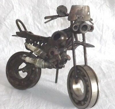 Recycled Metal Art Motorcycle Sculpture Rustic Handcrafted Spark Plugs Bearings