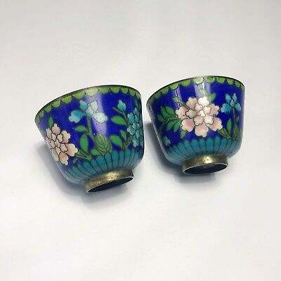 Pair of small antique chinese cloisonne bowls