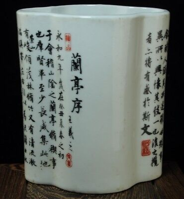 china old Underglaze black color Lan Ting Preface porcelain brush pot b02