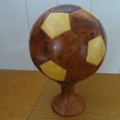 """Approx 5"""" Diameter Unusual Wooden Marquetry Football C/w Wood Stand"""