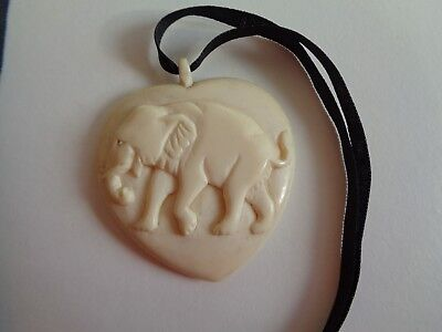 Large Antique Victorian Raj Carved Heart Shaped Elephant Pendant