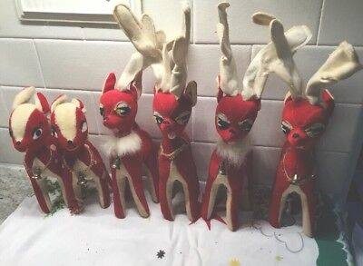 Lot of 6 Vintage Christmas Red Velvet/Felt Reindeer Family Made In Japan