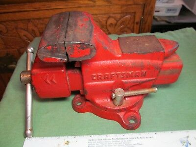 "Vintage Craftsman No.391-5180 Bench Vise, 3-5/8"" Jaws, Anvil & Pipe, Swivel Base"
