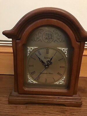 Vintage Small Carved Oak Mantel Clock
