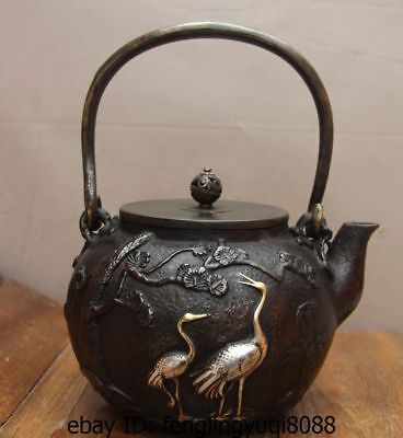 Japan Old Iron Silver Gilt Turtle Tortoice Crane Pine Flagon Kettle Wine Tea Pot