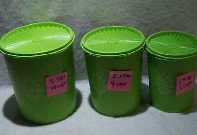 6 Piece Vintage Tupperware Mint Green Canister Set New Old Stock