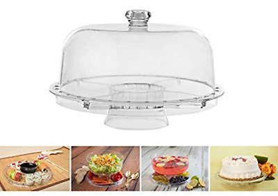 Cake Stand with Dome Multifunctional Salad Server 5 Tray or Center Dip Bowl NEW
