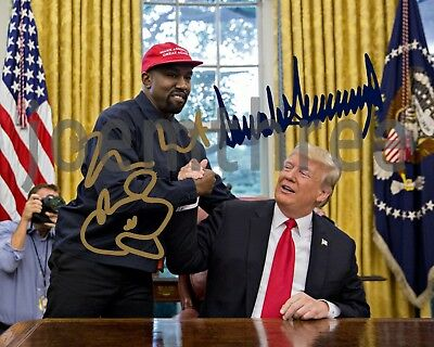 Donald Trump and Kanye West Signed Autograph Repro 8x10 Photo