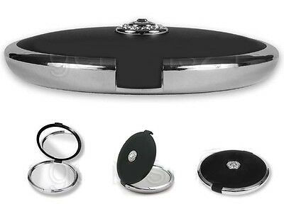 Floxite 10x / 1x with Crystal Jeweled Compact Makeup Purse Travel Mirror BLACK