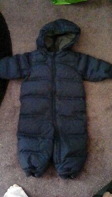 used, baby gap, navy blue snowsuit, 12 - 18 mths,