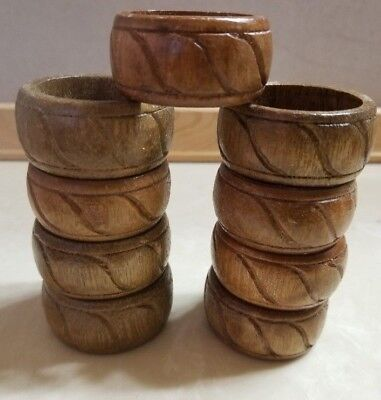 9 Carved Wood Round Napkin Rings Holders FREE SHIP