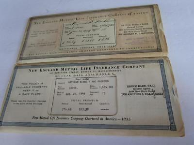 1949 New England Mutual Life Co Botson Insurance Policy Certificate Lot of 2