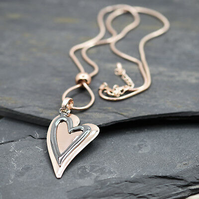 Bnwt Silver Or Rose Gold Finish Metal Large 2 Heart Necklace - Free P&p