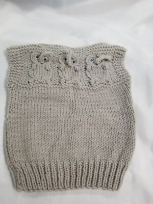Vintage HANDMADE Baby Girl/Boy Gray Vest Outfit Knitted/Crochet Elephants