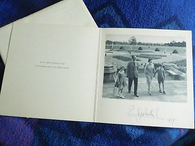 Queen Elizabeth II - lovely  hand signed 1959 Chirstmas card
