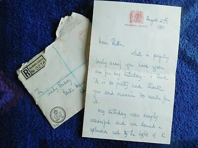 Princess Margaret rare autograph letter signed to Princess Diana's Grandmother