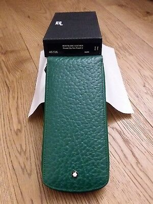 Montblanc Pen Pouch  Zip for 3 pens  Leather APPLE ( GREEN ) VINTAGE