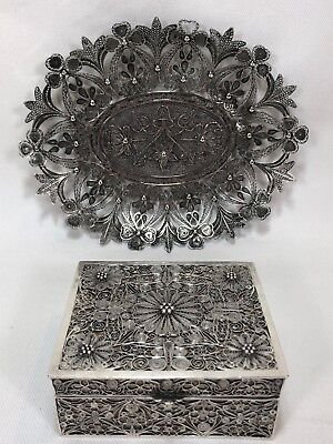 Antique Chinese Pure Silver Filigree Box SIGNED with Chinese Silver Dish Bowl