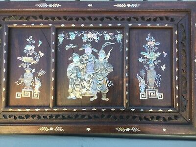 Antique Oriental Wood Panel with Mother of Pearl inlay
