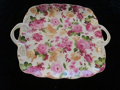 """9"""" Square Royal Danube Floral Serving Dish W/scalloped Gold-Trimmed Edging."""