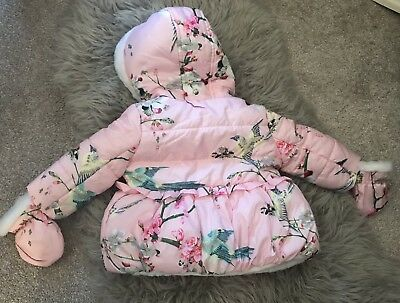 Ted Baker Baby Girl Pink Floral Print Shower Resistant Winter Coat 3-6 Months
