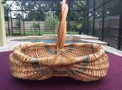 Vintage Two Tone Hand Made Double Buttocks Egg Basket Twisted Vine Handle