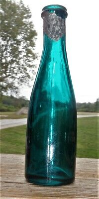 Mini CHAMPAGNE?..Cologne..PURE RICH TEAL COLOR, Miniature with Liquor Style Top