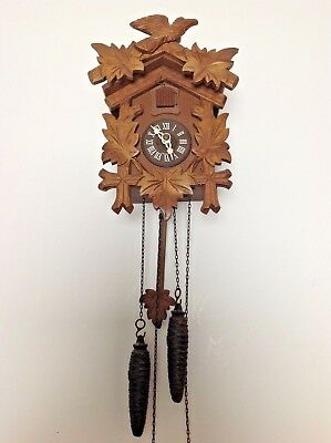 "CUCKOO CLOCK VINTAGE BLACK FOREST WEST GERMANY 9"" x 7""  GOOD WORKING CONDITION++"