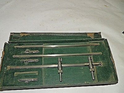 "Vintage K&E Paragon 24"" Beam Compass Cased Drafting Set Trammel"
