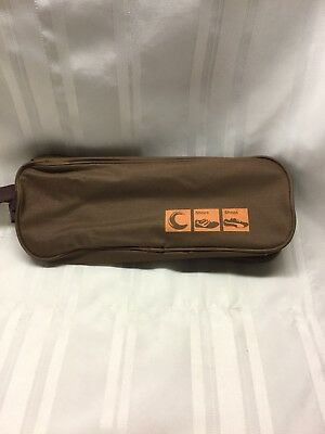 """Zippered Shoe Bag w/Handle - Brown with Clear View - 13"""" x 5"""" x 4 1/2"""""""