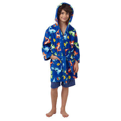 be7f828694 NEW Saint Eve Boy's Hooded Beach Cover-Up Robe 100% Cotton Sharks Size S