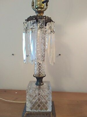 Fine Antique French Gilt Bronze Victorian Era Lamp W/ Cut Crystal Spears