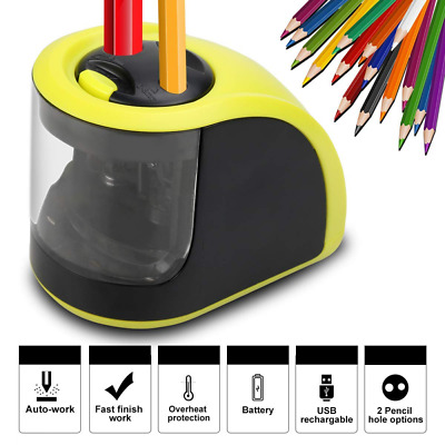 2 Holes Electric Pencil Sharpener Rechargeable USB Battery Operated 6-8mm&9-12mm