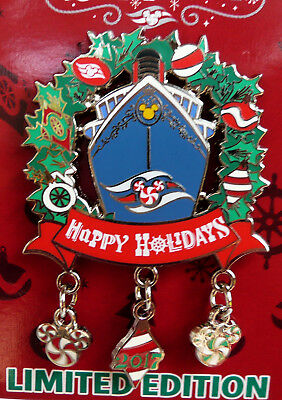 2017 Walt Disney Cruise Line Happy Holidays Pin With Hanging Ornaments 2 1/2 In