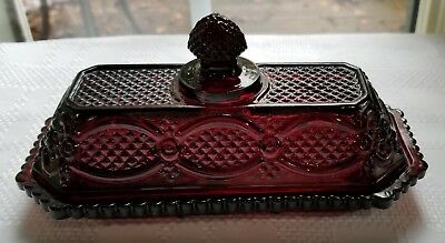 BEAUTIFUL!! Avon CAPE COD Ruby Red Glass BUTTER DISH