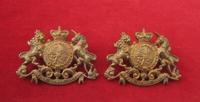 Unknown Victorian Royal Crest matching pair of cast Brass of QVC Collar badges
