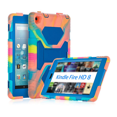 Kindle Fire HD 8 Case Tempered Glass Silicone Cover Shockproof & Scratchproof US