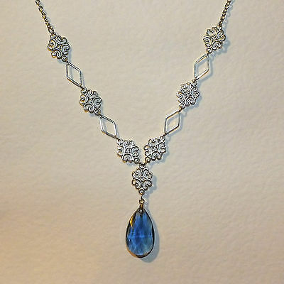 Lacy Filigree Victorian Style Blue Glass Crystal Dark Silver Pl Necklace