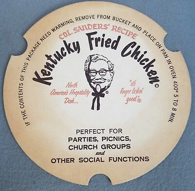 ORIGINAL 1950s KENTUCKY FRIED CHICKEN LID for BUCKET