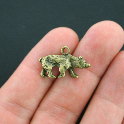 4 Bear Charms Antique Bronze Tone Beautiful 2 Sided - BC1074