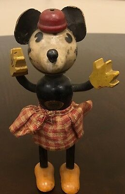 Antique Minnie Mouse Wooden Toy Doll Ca. 1930's