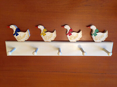 Vintage Retro Geese Duck Wooden Country Farmhouse Wall Coat Hat Rack 2 FEET LONG