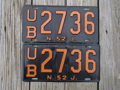 1952 New Jersey License Plate Pair - Extra Long Length Tags Ub2736 Fairly Scarce