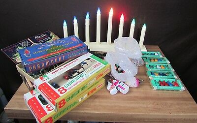 Vtg Lot C 6 Christmas Tree Lights Bulbs-Strings- Candelabra Santa Lantern House